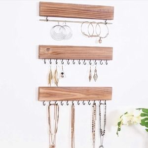 Wooden Hanging Jewelry Organizer Set of 3 NEW
